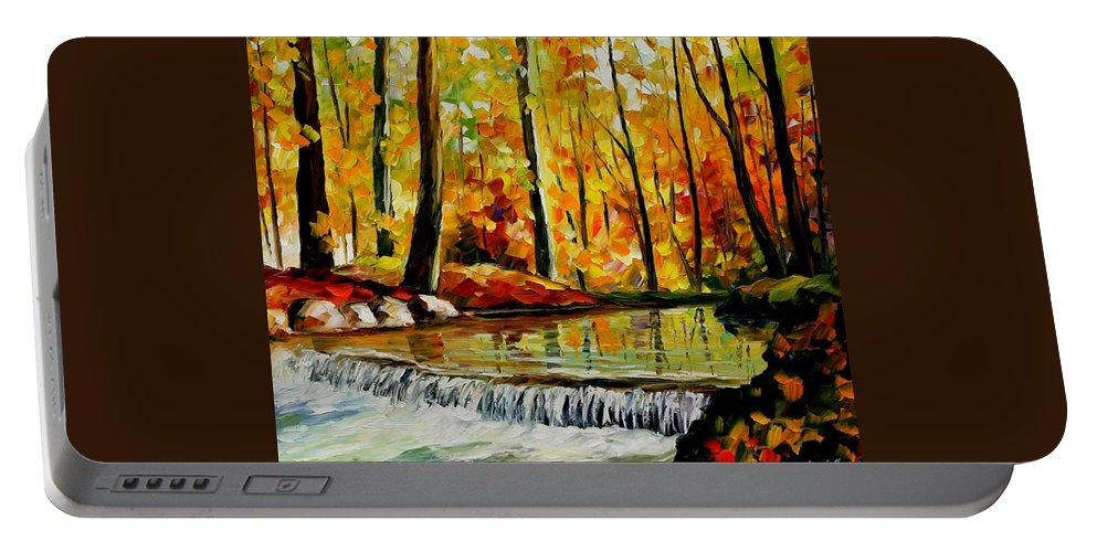 Afremov Portable Battery Charger featuring the painting Forest Stream by Leonid Afremov
