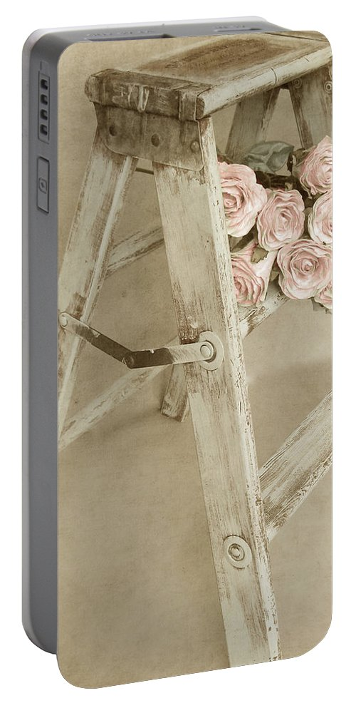 Shabby Chic Portable Battery Charger featuring the photograph Forget Me Not by Angie Mahoney