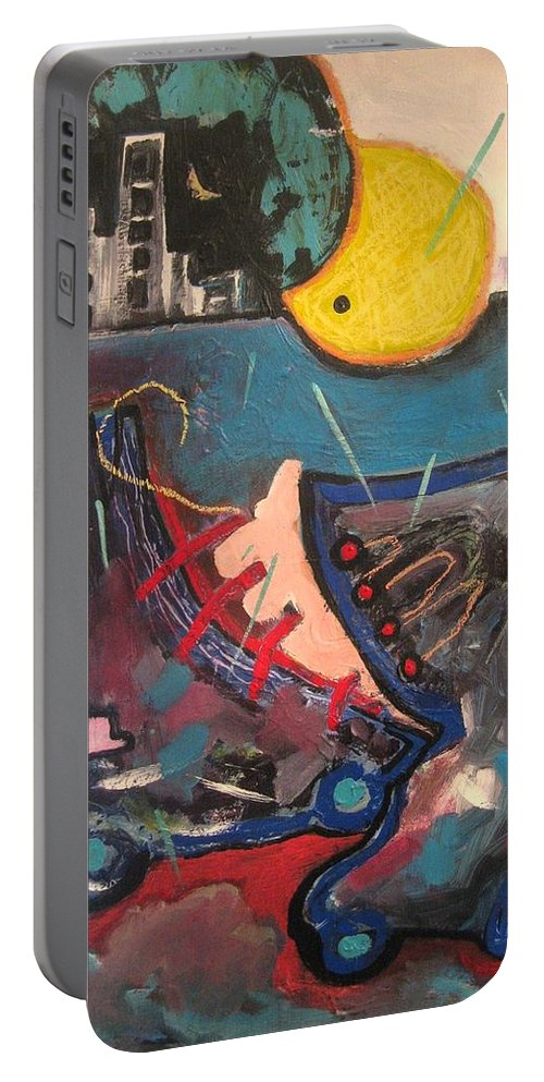 Abstract Paintings Portable Battery Charger featuring the painting Forgotten Days by Seon-Jeong Kim