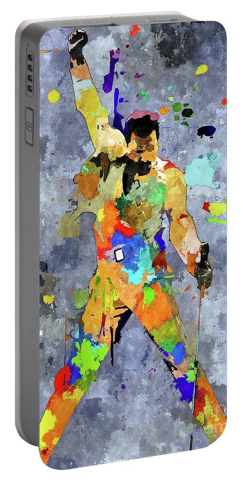 Freddie Mercury Portable Battery Charger featuring the mixed media Freddie Mercury by Daniel Janda