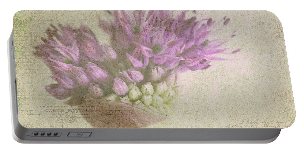 Purple Portable Battery Charger featuring the photograph French Market Series G by Rebecca Cozart