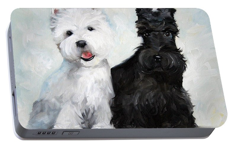 Art Portable Battery Charger featuring the painting Friends by Mary Sparrow