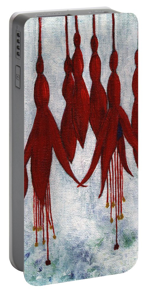 Fuchsia Portable Battery Charger featuring the painting Fuchsia by Barbara Moignard