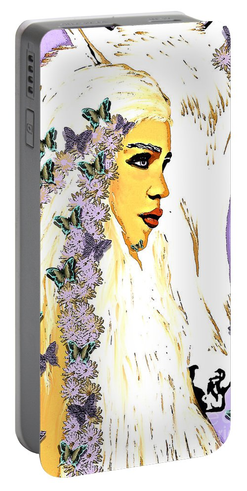 Game Of Thrones Portable Battery Charger featuring the painting Game Of Thrones by Saundra Myles