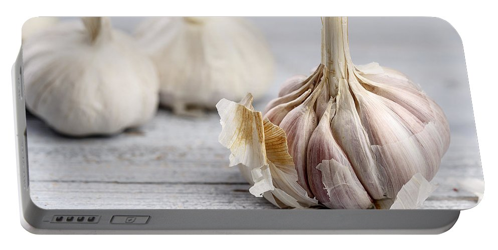 Garlic Portable Battery Charger featuring the photograph Garlic by Nailia Schwarz