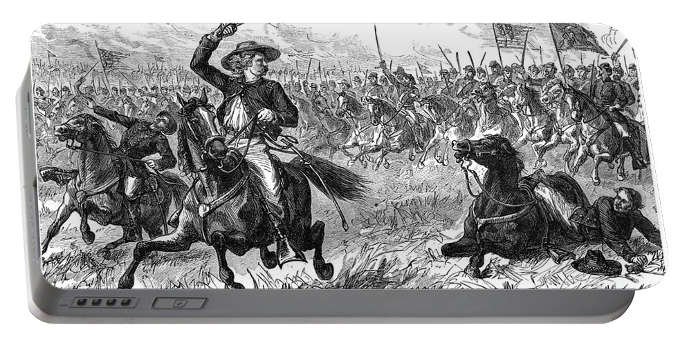 1863 Portable Battery Charger featuring the photograph George Custer (1839-1876) by Granger