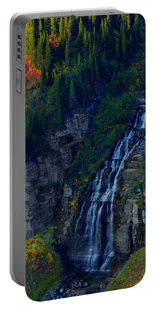 Glacier Portable Battery Charger featuring the photograph Glacier Waterfall by Roy Nierdieck
