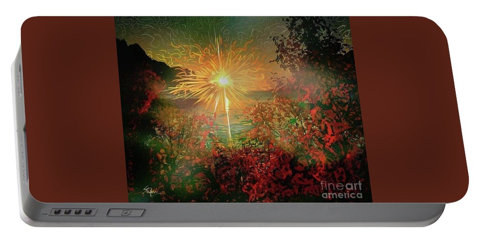 Sunset Portable Battery Charger featuring the painting Glorious by Stefan Duncan
