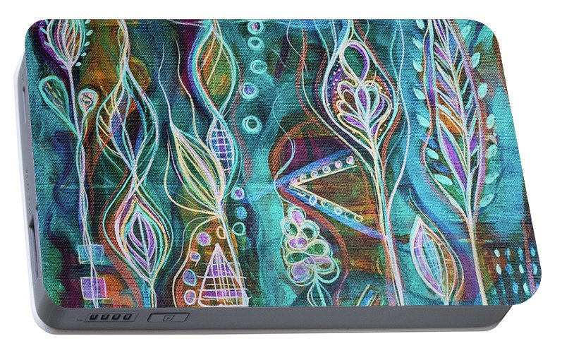 Intuitive Art Portable Battery Charger featuring the painting Glow by Angel Fritz