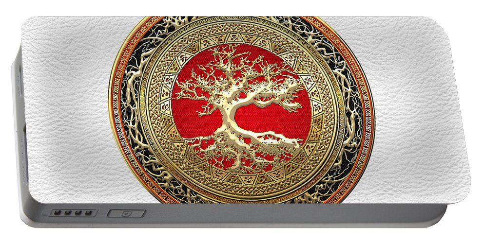 Treasure Trove By By Serge Averbukh Portable Battery Charger featuring the photograph Gold Celtic Tree of Life on White Leather by Serge Averbukh