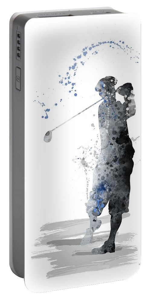 Sport Portable Battery Charger featuring the digital art Golfer by Marlene Watson