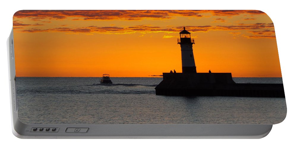 Sunrise Portable Battery Charger featuring the photograph Gone Fishing by Alison Gimpel