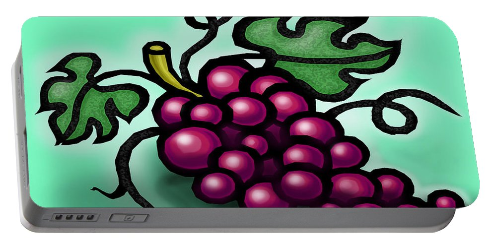 Grape Portable Battery Charger featuring the greeting card Grapes by Kevin Middleton