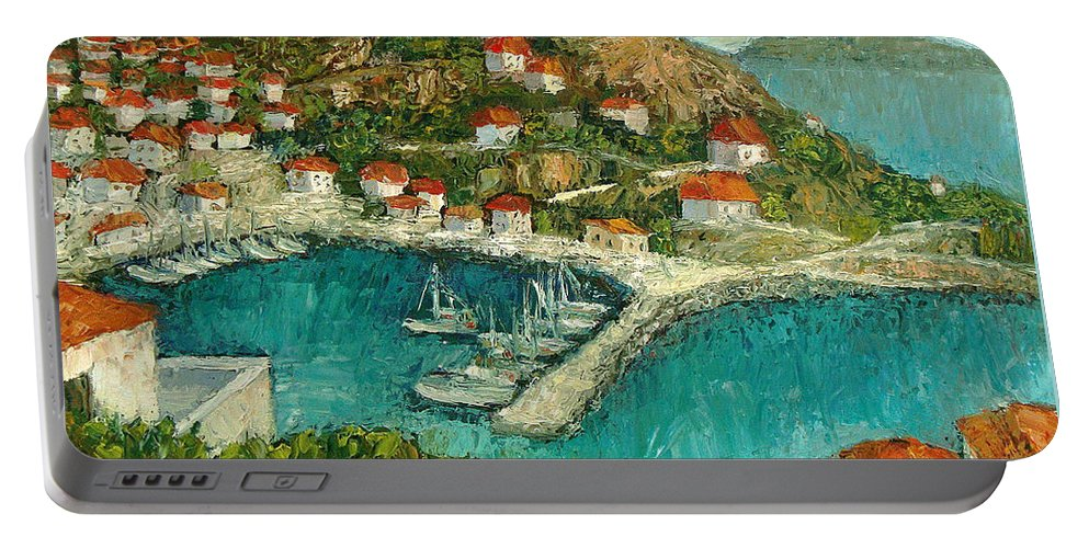 Island Portable Battery Charger featuring the painting Greek Island by Ioulia Sotiriou