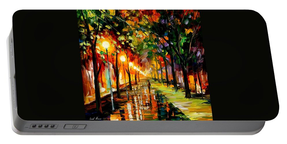 Afremov Portable Battery Charger featuring the painting Green Dreams by Leonid Afremov