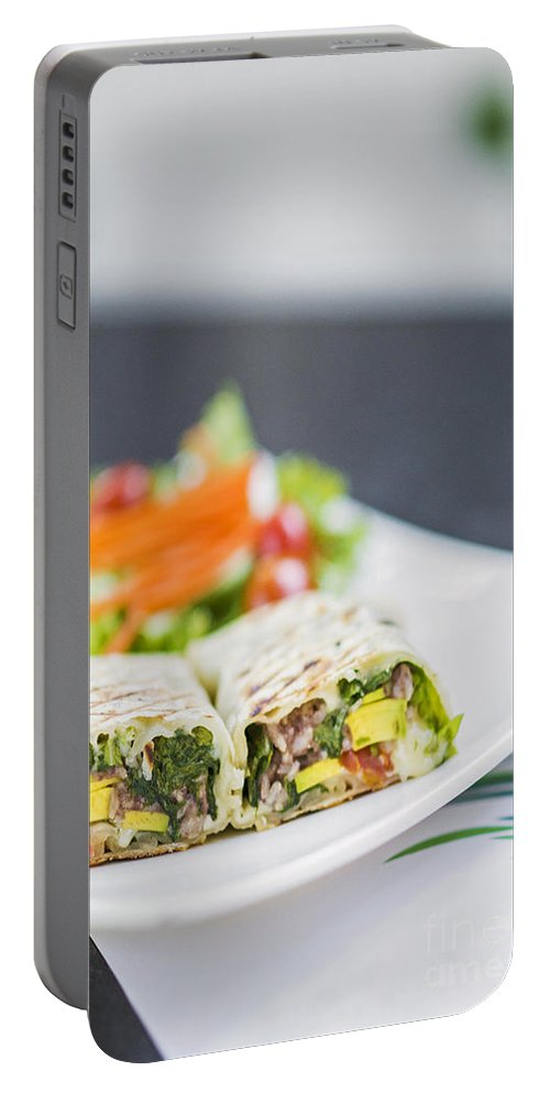 Conscious Portable Battery Charger featuring the photograph Grilled Vegetable And Salad Wrap by Jacek Malipan