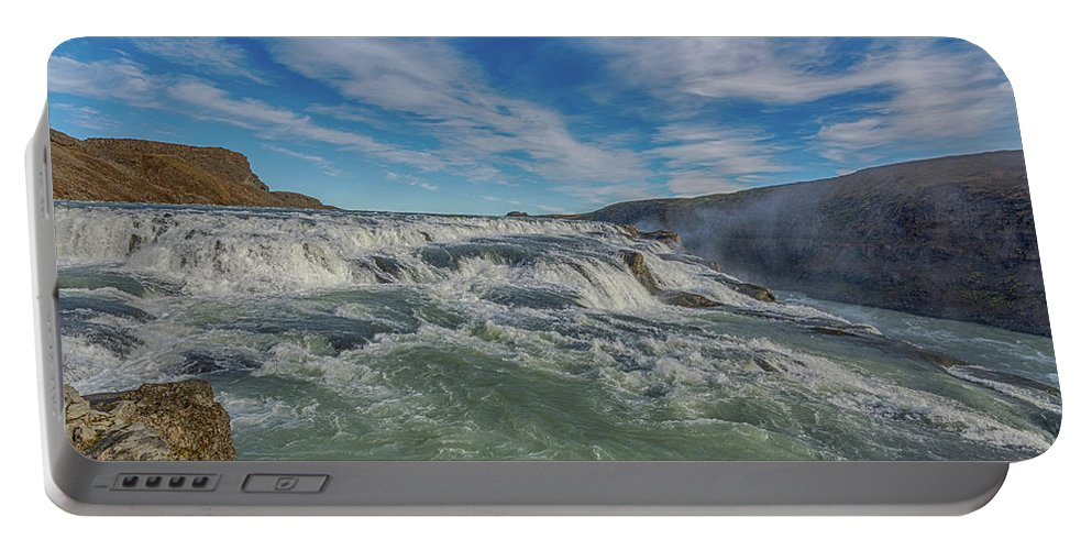 Autumn Portable Battery Charger featuring the photograph Gulfoss. by Angela Aird