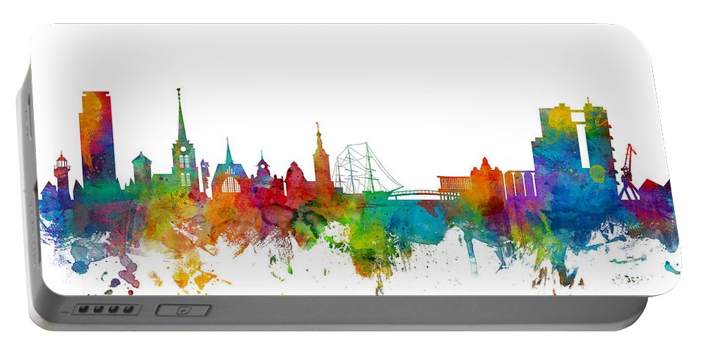 Sweden Portable Battery Charger featuring the digital art Halmstad Sweden Skyline by Michael Tompsett