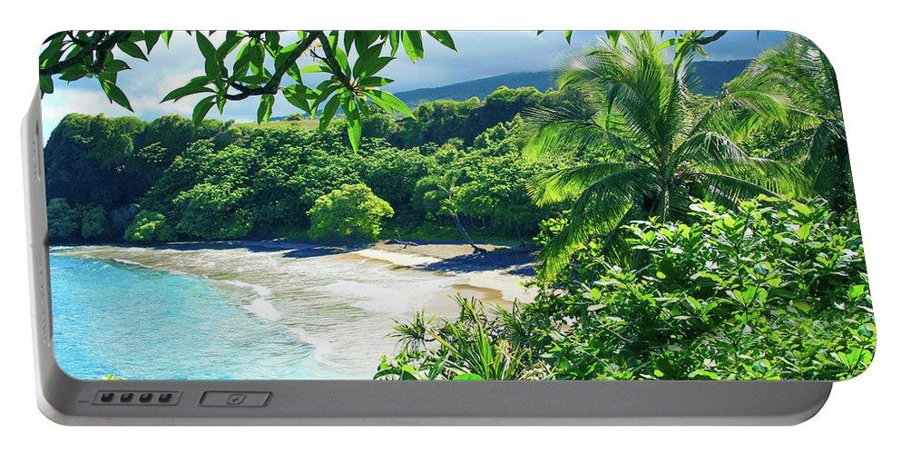 Hamoa Beach Portable Battery Charger featuring the photograph Hamoa Beach Hana Maui Hawaii by Sharon Mau
