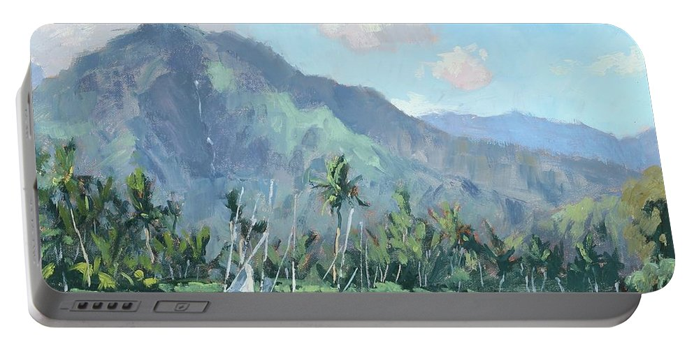 Kauai Portable Battery Charger featuring the painting Hanalei Cats by Pierre Bouret