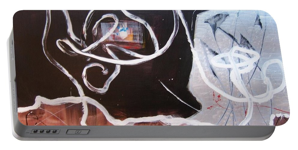 Abstract Paintings Portable Battery Charger featuring the painting Hand In Hand by Seon-Jeong Kim