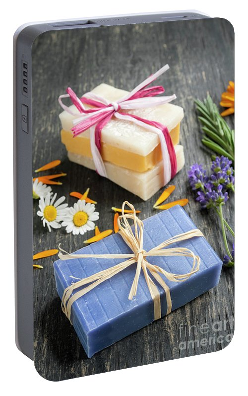 Soaps Portable Battery Charger featuring the photograph Handmade Soaps With Herbs by Elena Elisseeva