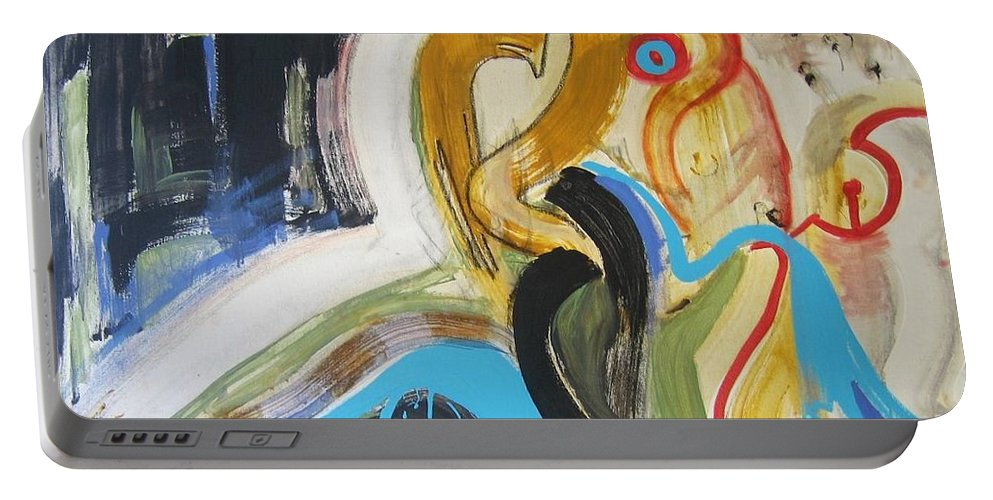 Abstract Art Paintings Portable Battery Charger featuring the painting Hard To Escape by Seon-Jeong Kim