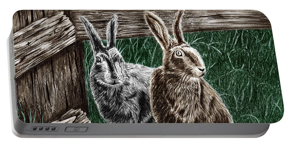 Hare Line Portable Battery Charger featuring the drawing Hare Line by Peter Piatt