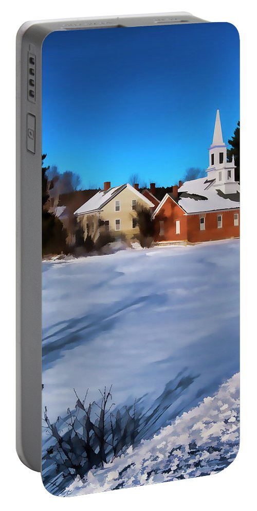 Harrisville New Hampshire. New England Mill Town Portable Battery Charger featuring the photograph Harrisville Pond II by Tom Singleton