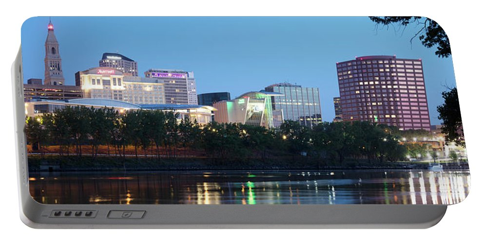 Waterway Portable Battery Charger featuring the photograph Hartford Skyline Panorama by Bill Cobb