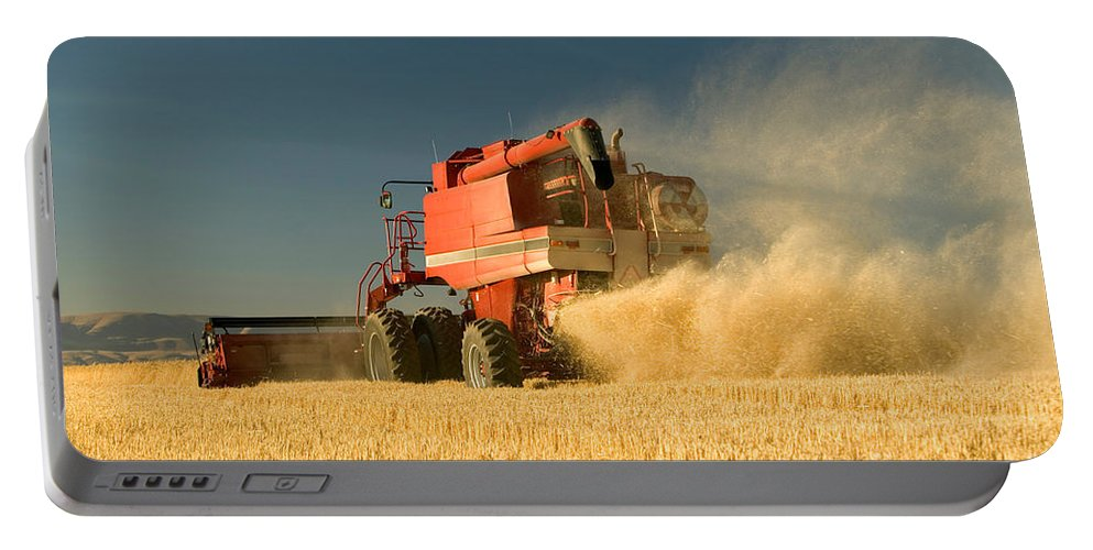 Wheat Portable Battery Charger featuring the photograph Harvesting Wheat by Inga Spence