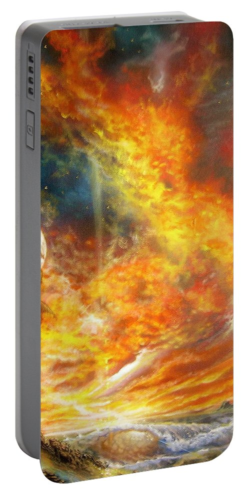 Hawaii Sunset Portable Battery Charger featuring the painting Hawaii Sunset by Leland Castro