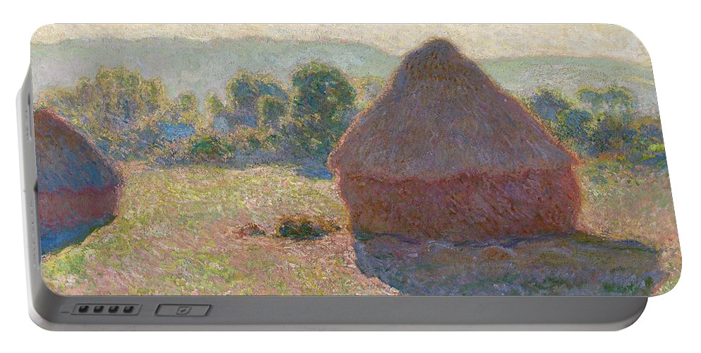 Claude Monet Portable Battery Charger featuring the painting Haystacks, Midday by Claude Monet