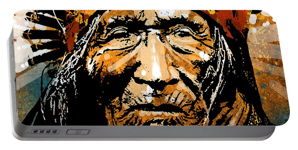 Native American Portable Battery Charger featuring the painting He Dog by Paul Sachtleben