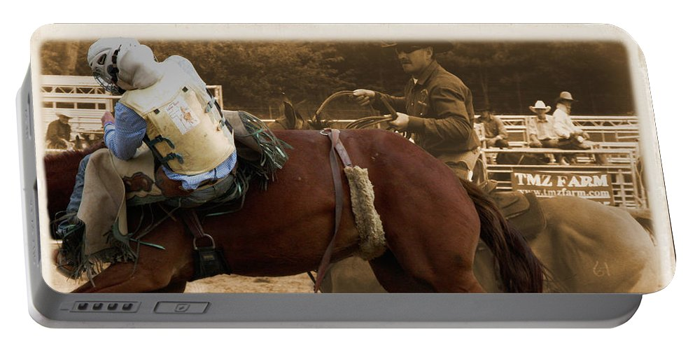 Sepia Portable Battery Charger featuring the photograph Helluva Rodeo-the Ride 6 by September Stone