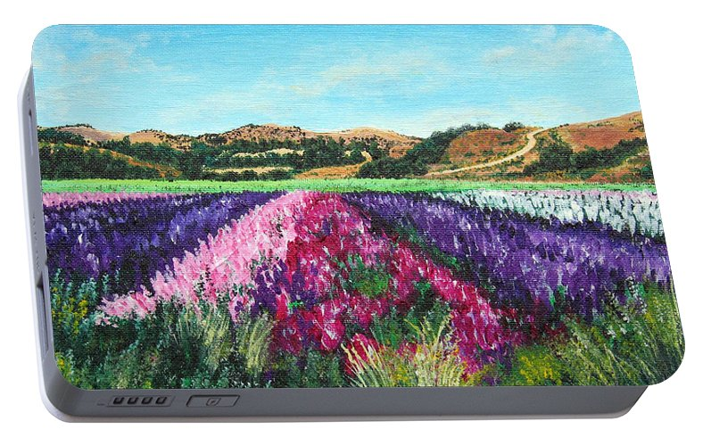 Highway 246 Portable Battery Charger featuring the painting Highway 246 Flowers 3 by Angie Hamlin