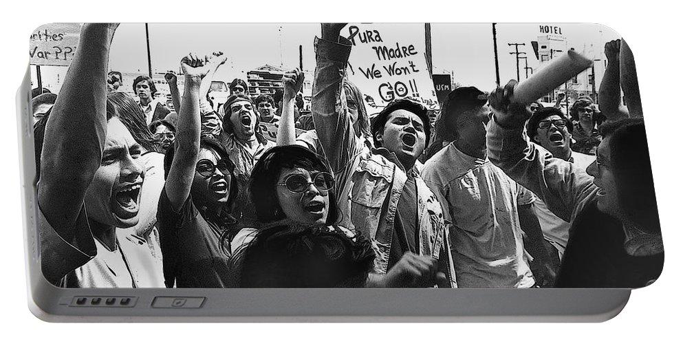 Hispanic Anti-viet Nam War Rally Tucson Arizona 1971 Portable Battery Charger featuring the photograph Hispanic Anti-viet Nam War Rally Tucson Arizona 1971 by David Lee Guss