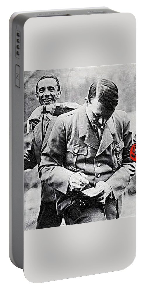 Hitler And Goebbels As The German Chancellor Signs An Autograph Portable Battery Charger featuring the photograph Hitler And Goebbels As The German Chancellor Signs An Autograph by David Lee Guss