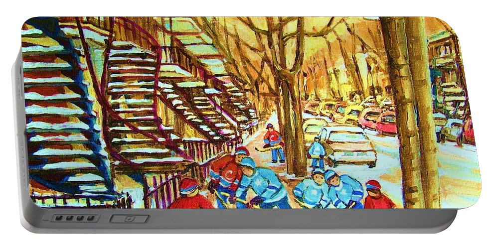Montreal Portable Battery Charger featuring the painting Hockey Game Near Winding Staircases by Carole Spandau
