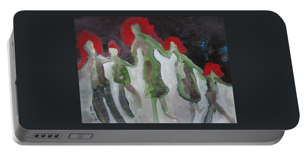 Abstract Paintings Portable Battery Charger featuring the painting Holding Hands by Seon-Jeong Kim