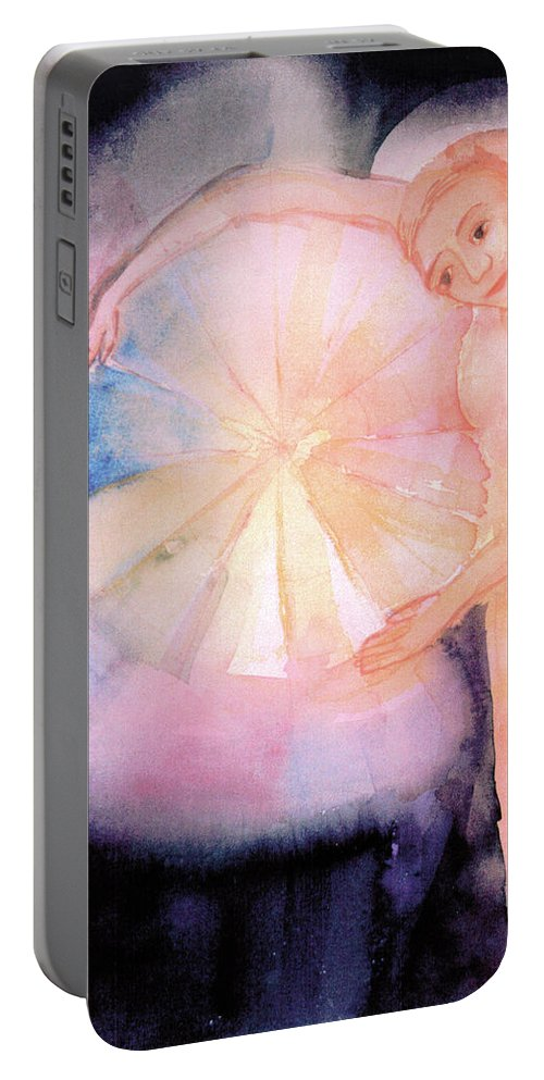 Johann Wolfgang Von Goethe's Work On Color Portable Battery Charger featuring the painting Holding On To The Birth Of Color by Maryanna Bock