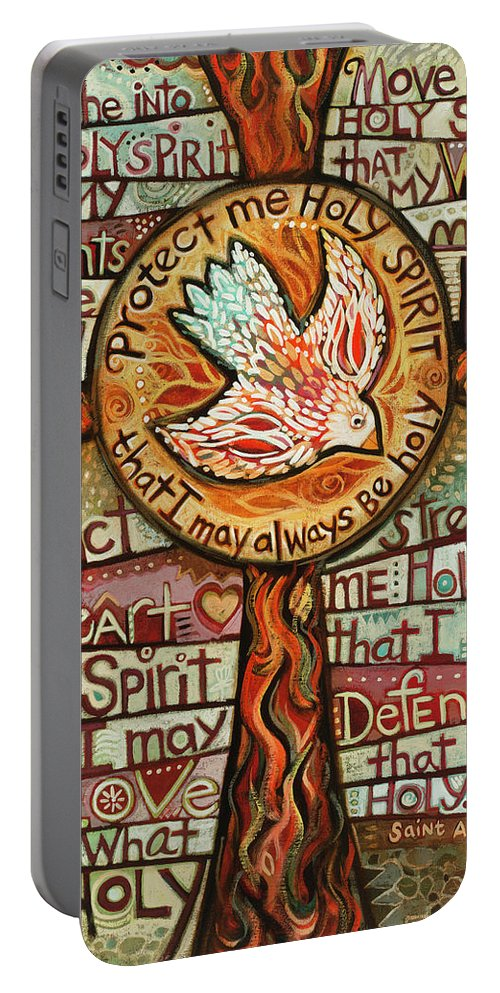 Jen Norton Portable Battery Charger featuring the painting Holy Spirit Prayer by St. Augustine by Jen Norton