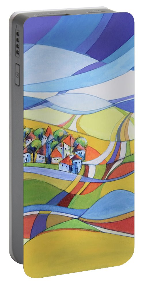Landscape Portable Battery Charger featuring the painting Houses Along The River by Aniko Hencz
