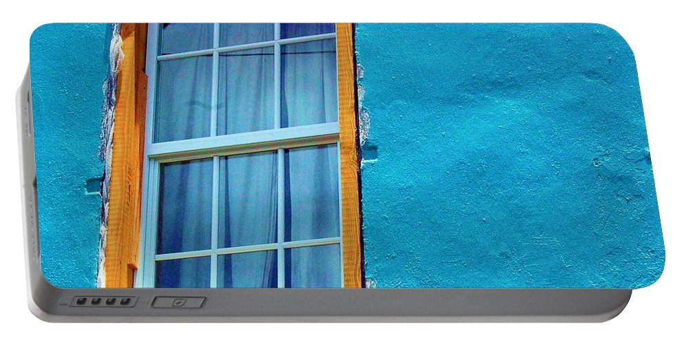 Window Portable Battery Charger featuring the photograph I Got The Blues by Debbi Granruth