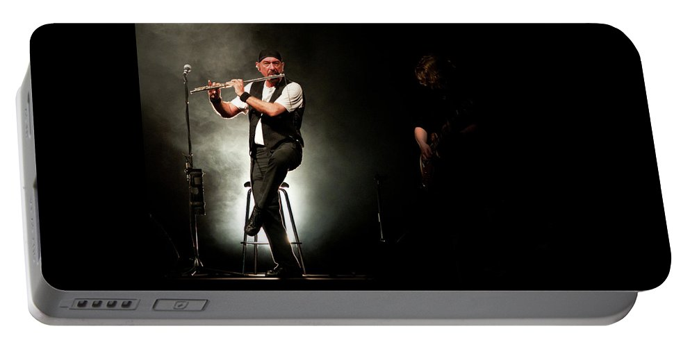 Juthro Tull Portable Battery Charger featuring the photograph Ian Anderson Of Juthro Tull Live Concert by Michalakis Ppalis