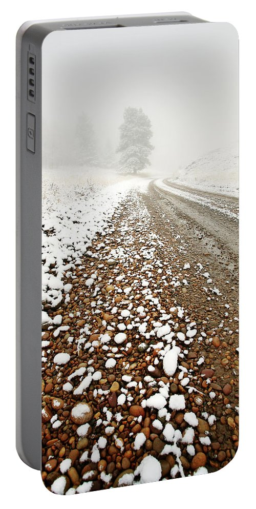 Ice Fog Portable Battery Charger featuring the digital art Ice Fog In Cypress Hills Provincial Park Of Saskatchewan by Mark Duffy