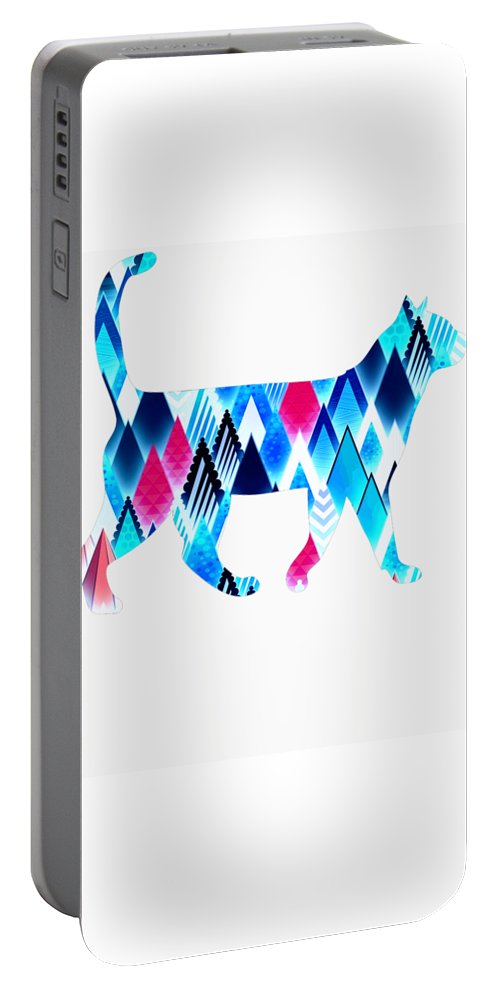 Cat Portable Battery Charger featuring the digital art Ice Triangles Cats by Kaylin Watchorn