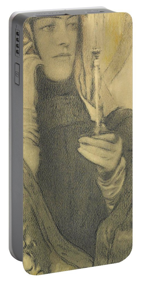 Fernand Khnopff Portable Battery Charger featuring the drawing Incense by Fernand Khnopff