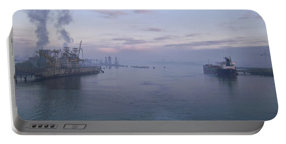 Aqua Portable Battery Charger featuring the photograph Industrial by Svetlana Sewell
