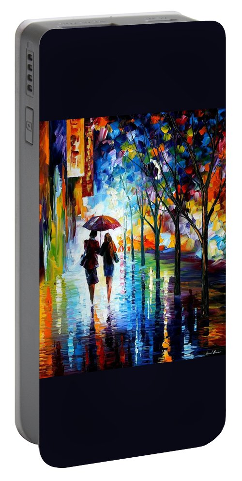 Afremov Portable Battery Charger featuring the painting Invitation by Leonid Afremov